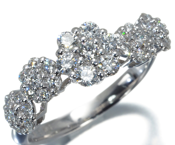 ポンテヴェキオ リング ダイヤモンド 0.80ct フラワー K18WG