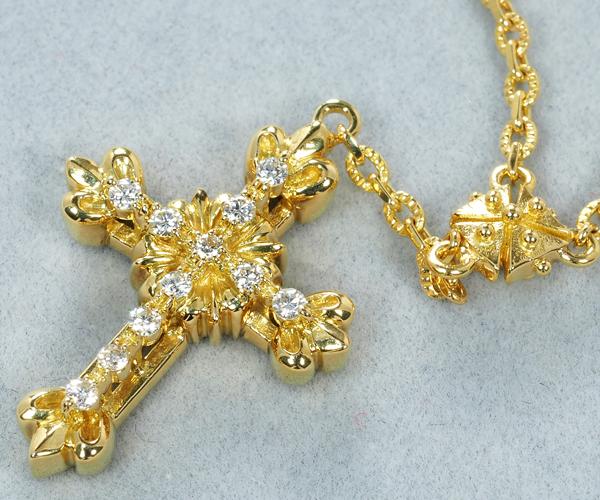アーカー ネックレス ダイヤモンド 0.10ct クロス ロング K18YG