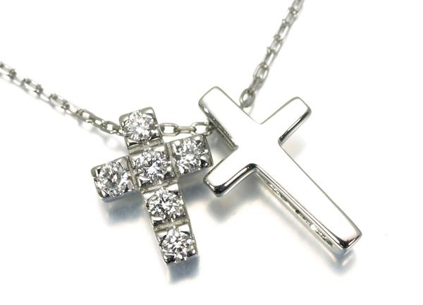 4℃ ヨンドシー ネックレス ダイヤ ダイヤモンド ダブルクロス Pt850 プラチナ