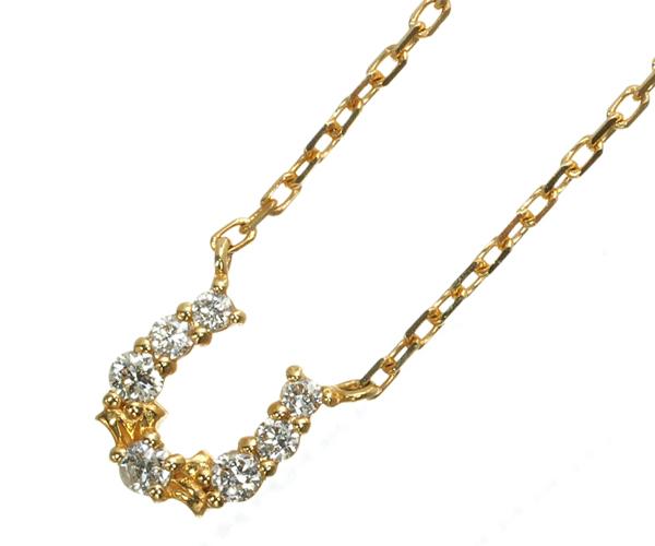 アガット ネックレス ダイヤモンド ホースシュー K18YG