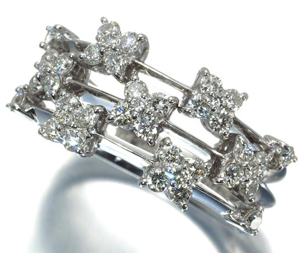 ポンテヴェキオ リング ダイヤモンド 0.81ct フラワー K18WG