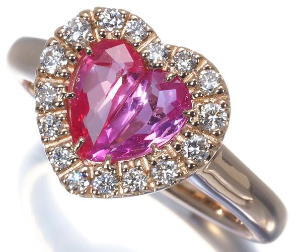 ポンテヴェキオ リング ピンクサファイア 0.79ct ダイヤモンド 0.21ct ハート K18PG
