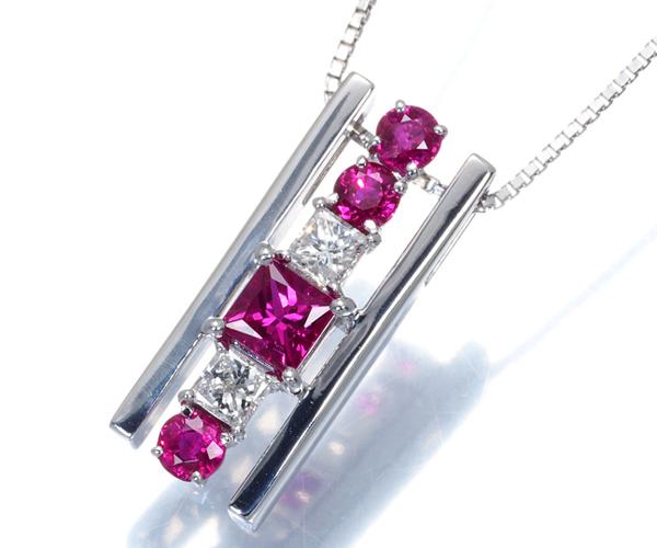 TASAKI タサキ ネックレス ダイヤモンド 0.25ct ルビー プリンセスカット K18WG