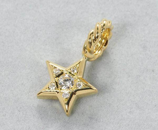 SJX ペンダントトップ ダイヤ ダイヤモンド 0.09ct スター K18YG