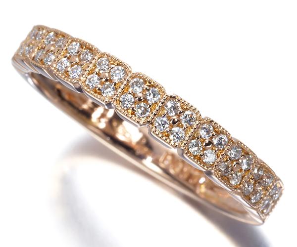 ポンテヴェキオ リング ダイヤモンド 0.17ct ハーフエタニティ ミルグレイン K18PG