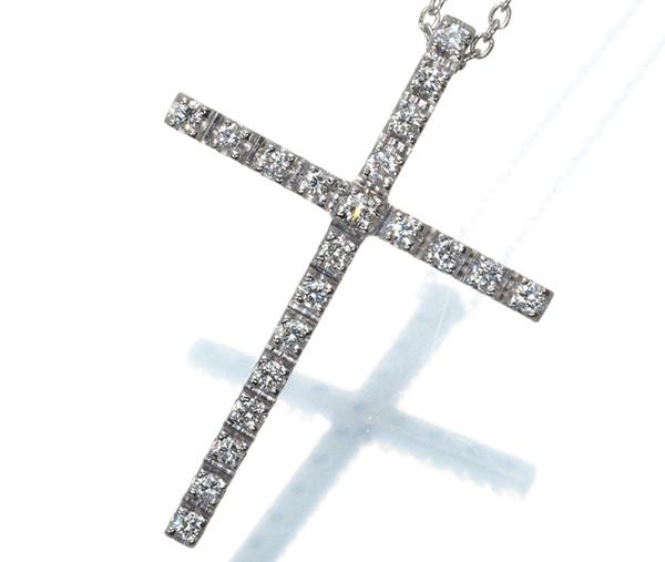 スタージュエリー ネックレス ダイヤ 0.20ct クロス K18WG