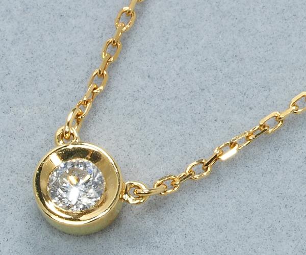 4℃ ヨンドシー ネックレス ダイヤモンド 一粒 ベゼルセット K18YG