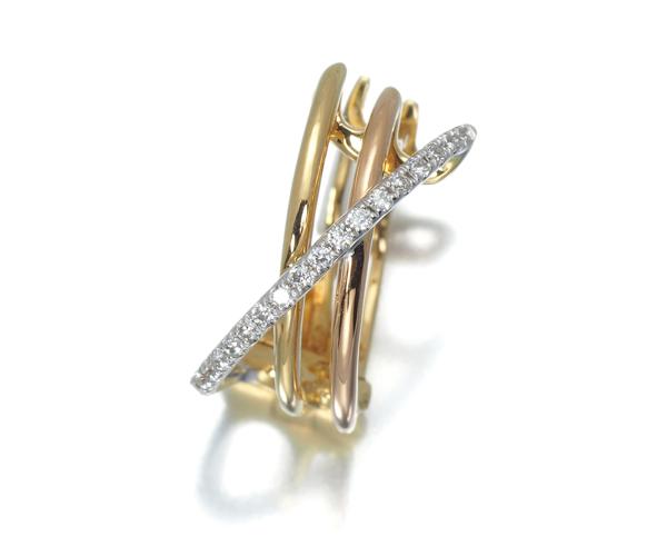 ポンテヴェキオ ピアス ダイヤモンド 0.06ct スリーカラー 片耳 K18YG/WG/PG