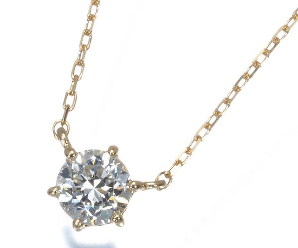ヴァンドーム ネックレス 一粒 ダイヤモンド 0.20ct K18YG
