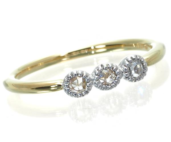 ベーネベーネ リング ダイヤモンド 0.09ct ローズカット ミルグレイン 10.5号 K18YG/WG