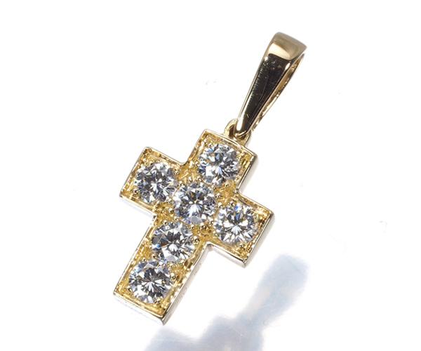 カルティエ ペンダントトップ ダイヤモンド クロス K18YG