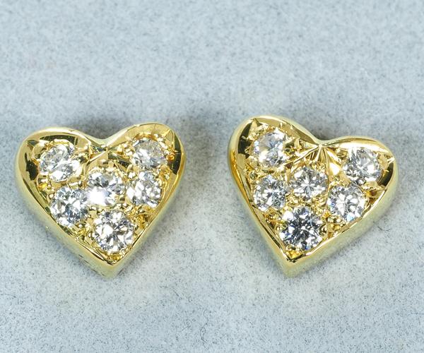 モニッケンダム ピアス ダイヤモンド 0.135ct/0.135ct ハート K18YG