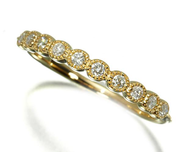 アガット リング ダイヤモンド 0.11ct ミルグレイン ハーフエタニティ 7号 K18YG