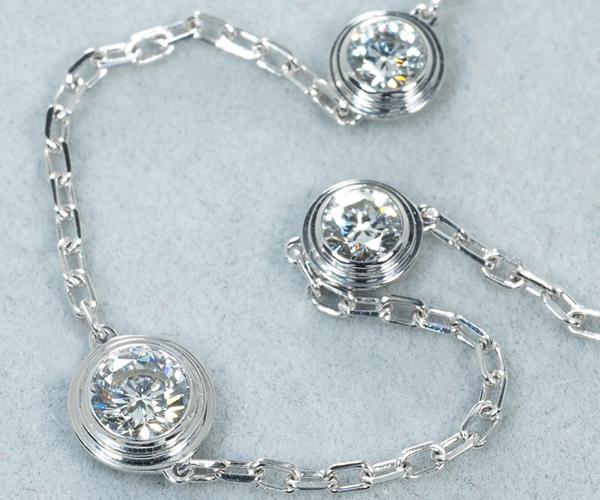 カルティエ ネックレス ダイヤモンド 3P ディアマンレジェ K18WG