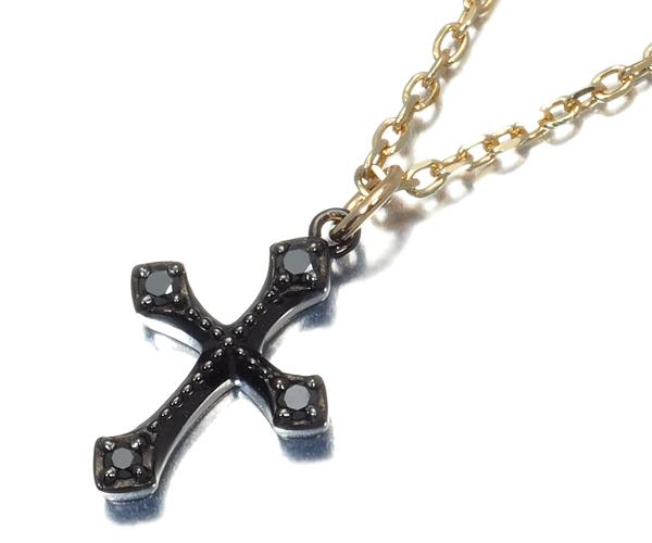 アガット ネックレス ブラックダイヤモンドモンド クロス K10YG/ブラックコーティング