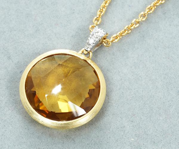 マルコビチェゴ ネックレス ジャイプール シトリン ダイヤモンド 0.02ct K18YG/WG