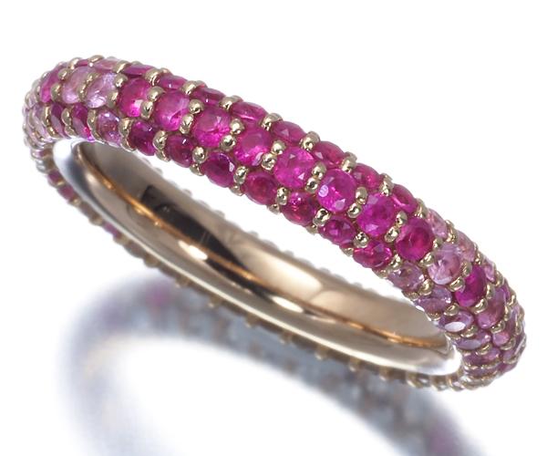 ポンテヴェキオ リング ピンクサファイア 1.16ct ダイヤモンド 0.51ct エテルニーナ 7号 K18P