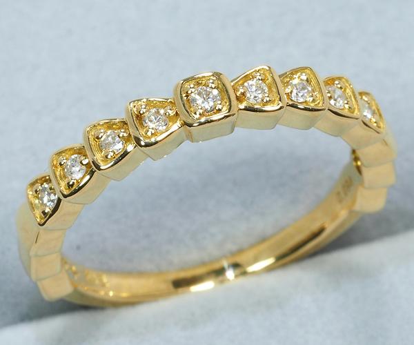 4℃ ヨンドシー リング ダイヤモンド 0.094ct ハーフエタニティ K18YG