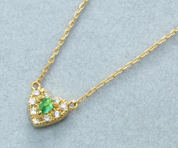 アーカー ネックレス エメラルド ダイヤモンド 0.04ct ポワンハートパヴェ K18YG