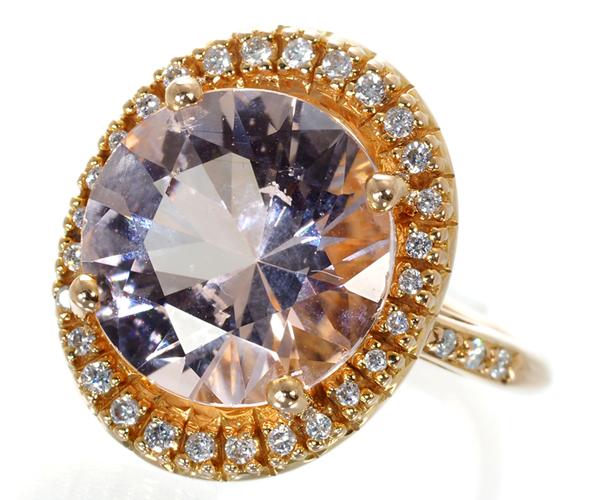 モーブッサン リング モルガナイト ダイヤモンド 8号 K18PG
