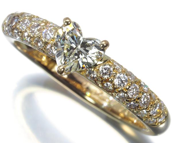 ポンテヴェキオ リング ハートシェイプ ダイヤモンド 0.42ct/0.37ct K18YG