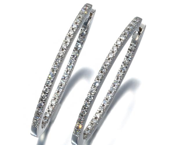 ポンテヴェキオ ピアス ダイヤモンド 0.30ct/0.30ct フープ K18WG