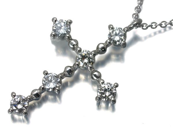 ヴァンドーム ネックレス ダイヤ 0.38ct クロス Pt900/Pt850/プラチナ