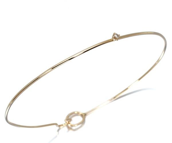 アガット ブレスレット ダイヤモンド 0.02ct バングル K10YG