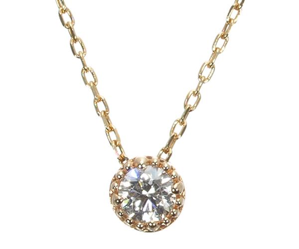 オデュース4℃ ネックレス ダイヤモンド ムーンストーン リバーシブル K10YG