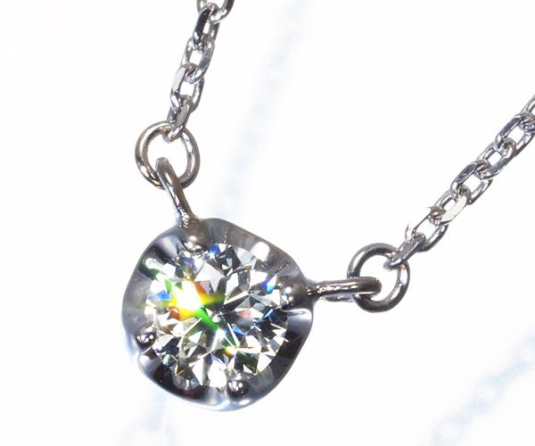 4℃ ヨンドシー ネックレス 一粒 ダイヤモンド 0.156ct K18WG