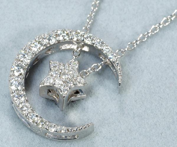 ポンテヴェキオ ネックレス ブラック&クリアダイヤモンド 0.37ct/0.08ct 月 星 K18WG