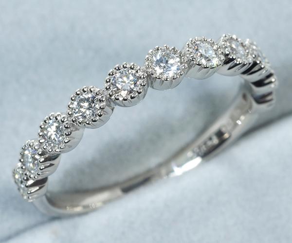 アガット リング ダイヤモンド 0.36ct ハーフエタニティ 10号 Pt900