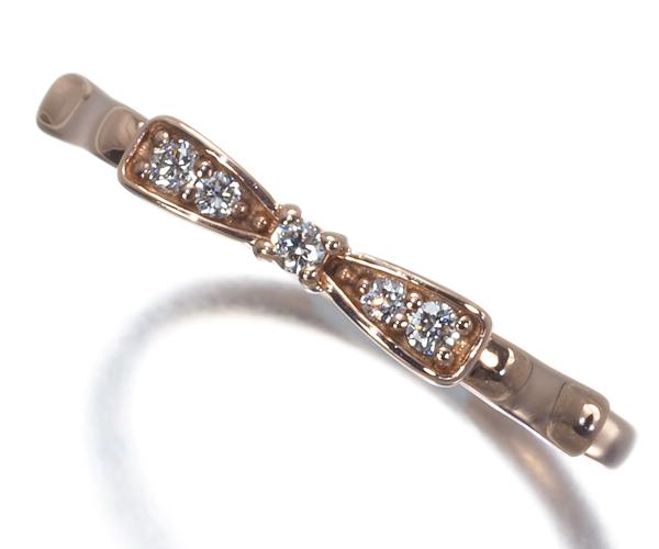 カナル4℃ リング ダイヤモンド ピンキー リボン 3号 K10PG