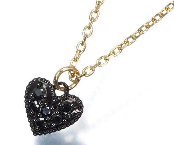 アガット ネックレス ブラックダイヤモンド ハート K10YG/ブラックコーティング