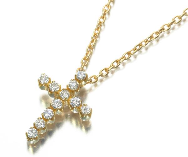 スタージュエリー ネックレス ダイヤモンド 0.10ct クロス K18YG
