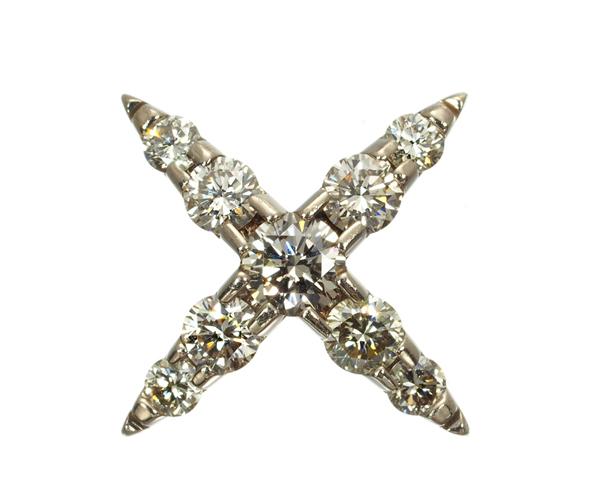 カシケイ ブローチ ダイヤモンド 0.35ct ネイキッド K18BG