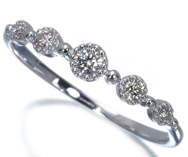 ヴァンドーム リング ダイヤモンド ミルグレイン 8号 K18WG