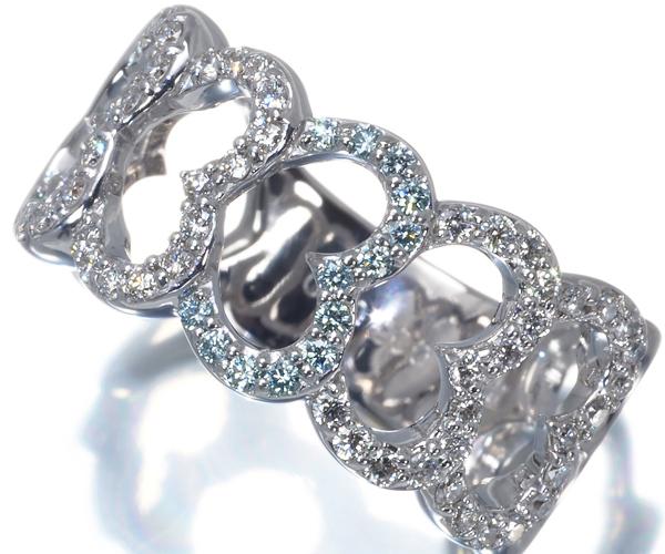 ポンテヴェキオ リング ブルー&クリアダイヤモンド 0.08ct/0.40ct 13号 K18WG