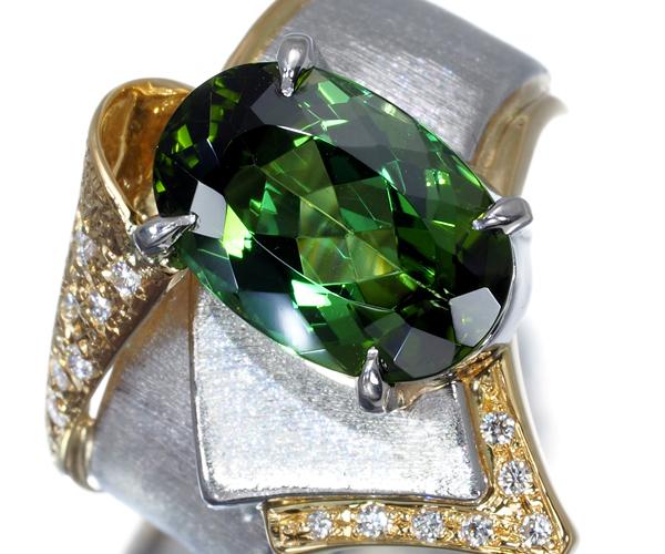 石川暢子 リング グリーントルマリン 4.70ct ダイヤモンド 13号 K18YG/Pt900