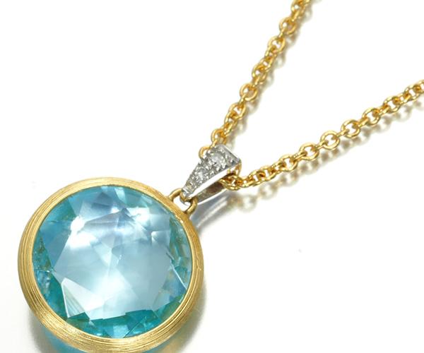 マルコビチェゴ ネックレス トパーズ ダイヤモンド 0.02ct デリカティ K18YG/WG
