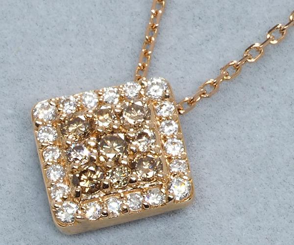 ポンテヴェキオ ネックレス ダイヤモンド 0.10ct/0.16ct スクエア K18PG