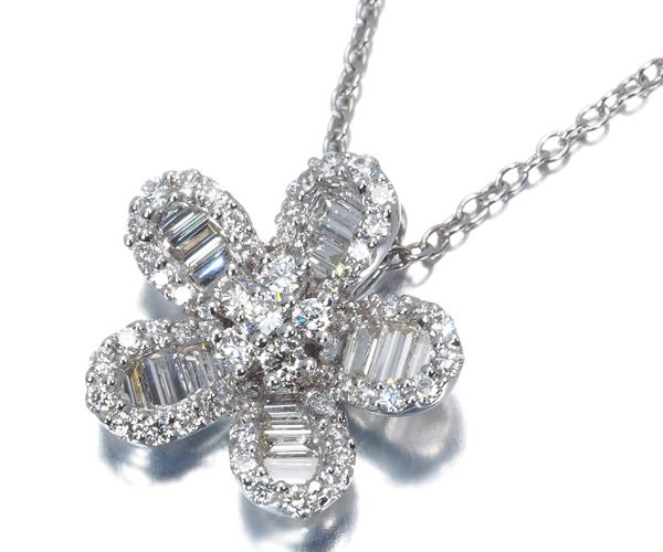 ポンテヴェキオ ネックレス 2種カット ダイヤモンド 0.84ct フラワー K18WG