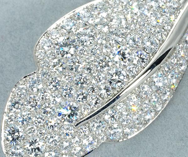 ギメル ブローチ ダイヤモンド 3.779ct リーフ Pt950