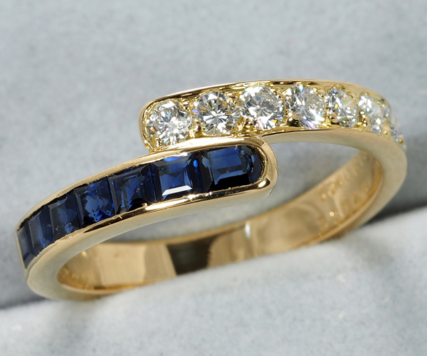 ヴァンクリーフ&アーペル リング ダイヤモンド サファイア 15号 K18YG