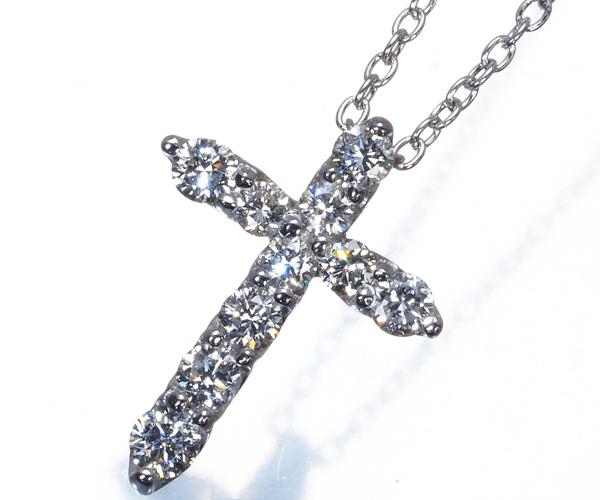 ポンテヴェキオ ネックレス ダイヤモンド 0.30ct クロス K18WG