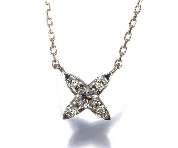 カシケイ ネックレス ダイヤモンド 0.12ct ネイキッド K18BG