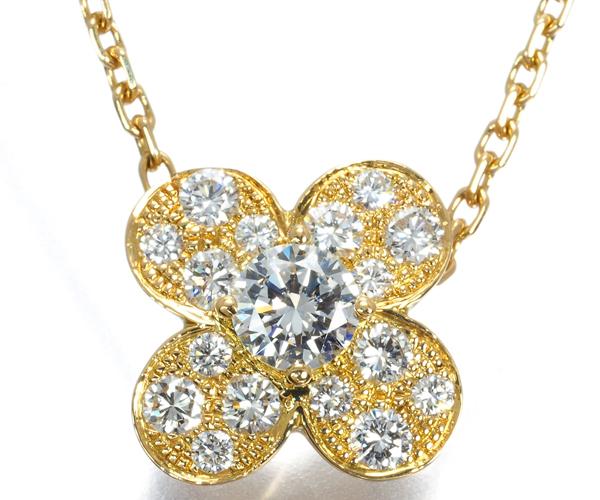 ヴァンクリーフ&アーペル ネックレス ダイヤモンド トレフル K18YG