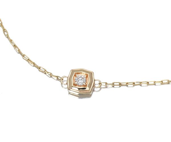アガット ブレスレット ダイヤモンド 0.02ct K10YG