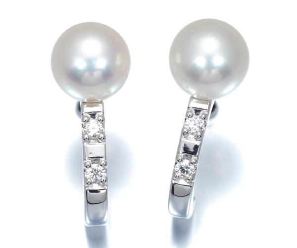 TASAKI タサキ ピアス アコヤ真珠 6.4mm珠 パール ダイヤモンド K18WG