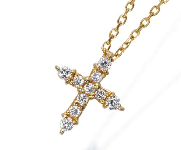 スタージュエリー ネックレス ダイヤモンド 0.08ct クロス K18YG